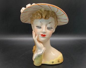 Lady Head Vase Exquisite Enesco Fur Collar Eyes Closed lady head vase  Vintage Figurines Collectible