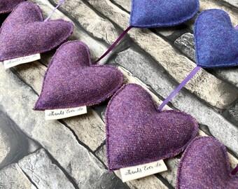 Purple wool felt heart vertical garland