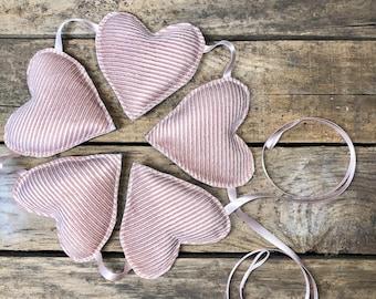 Plush pink heart garland