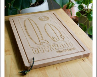 oLLywood cutting board 39,5x26,5x2cm   Ollywood Surfboards - oLLygoods   snijplank