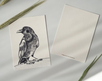 """Postcard """"Rabe"""" on natural paper with beautiful feel, art print, DIN A6 portrait"""