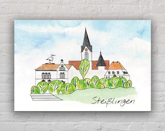 "30 x 20 cm, art print on canvas: ""Steißlingen"""