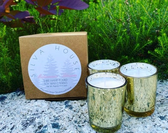 Set of Three Hand-Poured Candles in Gold Mercury Glass - Made to Order - Choose a Scent
