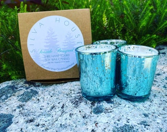 Set of Three Hand-Poured Candles in Aquamarine Mercury Glass - Made to Order - Choose a Scent