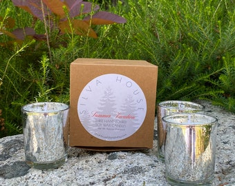 Set of Three Hand-Poured Soy Candles in Silver Mercury Glass - Made to Order - Choose a Scent