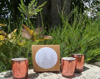 Set of Three Hand-Poured Candles in Rose Gold Mercury Glass - Made to Order - Choose a Scent