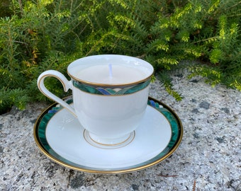 Made to Order - Lenox Kelly China Teacup and Saucer Soy Wax Candle - Approximately 6 oz. - Your Choice of Scent