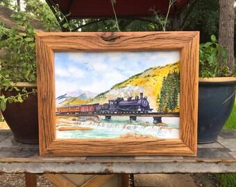 Watercolor Train From Durango to Silverton Colorado