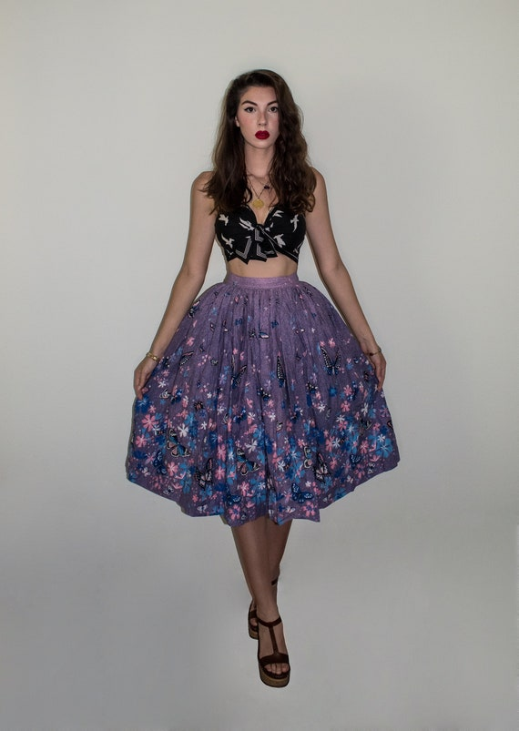 Vintage 50s novelty butterfly print skirt - image 2