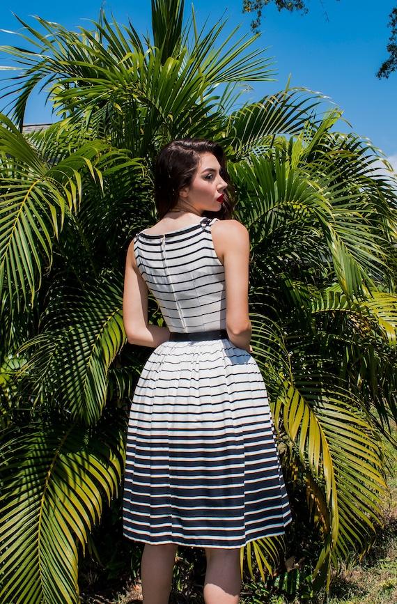 Vintage 50s striped cotton dress