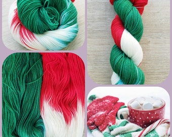 CANDY CANE 80/20 merino nylon fingering weight hand dyed yarn for socks shawls sweaters scarves and hats