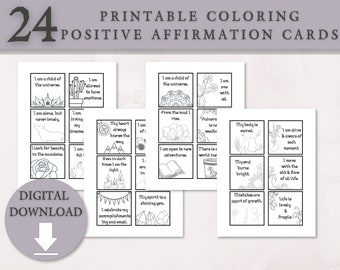 Positive Affirmation Coloring Cards, Printable Coloring Cards, Coloring for Adults