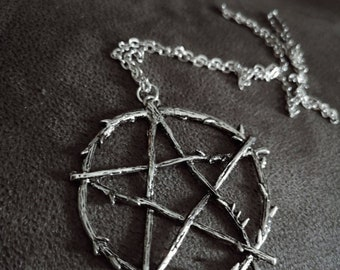 Branch Pentagram Necklace | Silver Amulet Steampunk Wiccan Pentacle | Witchy Gothic Jewelry