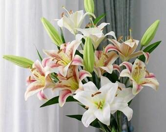 3 stem 6pcs Artificial lily Flower for Wedding Party Decor Bouquet Home Hotel Office Garden Craft Art Decor Pink