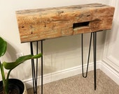Barn Beam Console | Reclaimed Architectural Salvage | Steel Hairpin Legs