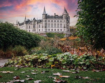 Autumn Leaves Leading To Dunrobin Castle