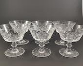 Vintage Bohemia Crystal Cut Pinwheel Fan Pattern Sorbet Champagne Coupe set of 6