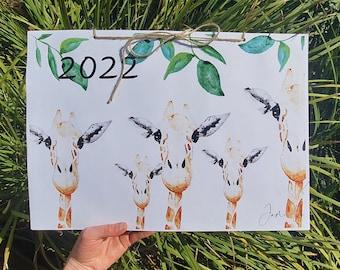 2022 Wildlife Themed Watercolor Calendar