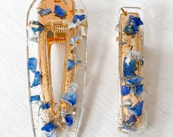 Real Dried Flower Resin Hair Clip Set   Handmade   Blue