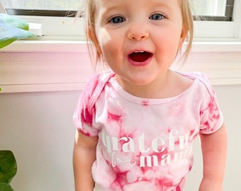 Grateful For Mama   Tie Dye Baby & Toddler Baby Shirt   Matching Mommy and Me   Mama and Mini   Mother Daughter   Mother Son
