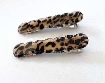 Cheetah Scallop Hair Clips   Set of 2   Barrette Hair Pin   Hair Accessories   Cute Gift   Bridesmaid   Bride   Gift for Mom