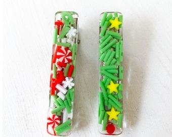 Christmas Resin Hair Clip Set   Handmade
