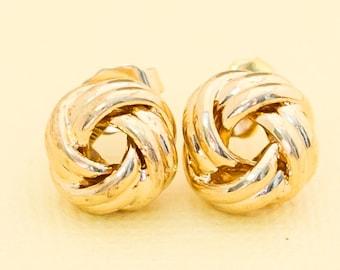Avon Gold Tone Medium Size Tailored Knot Pierced Earrings