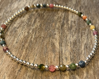 Sterling silver and multi Tourmaline anklet
