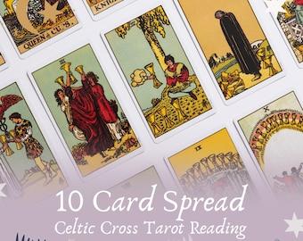 10 Card Tarot Reading, Celtic Cross Reading, Rider Waite Rading, tarot reading, life change tarot reading, health, wealth, love, career