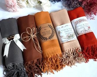 Colorful Pashmina Shawl, Personalized Shawl, Wedding Scarf, Bridesmaid Shawl, Pashmina Wrap, Shawls for Wedding, Wedding Shawl Scarves