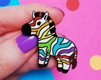 Rainbow Zebra Hard Enamel Pin - Rare Disease Awareness - Ehlers Danlos Syndrome
