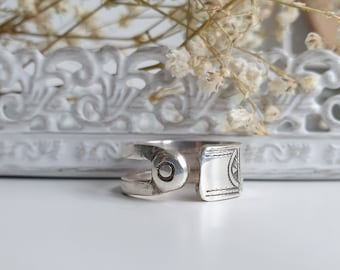Ethnic/Tuareg Ring Adjustable Reversible in Engraved Solid Silver