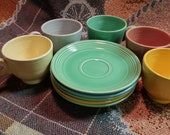 Vintage Fiesta Dinnerware. Cups and Saucers. Homer Laughlin.