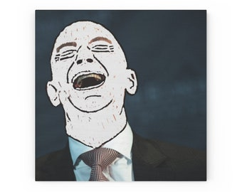Bezos laughs with you - Wood Canvas