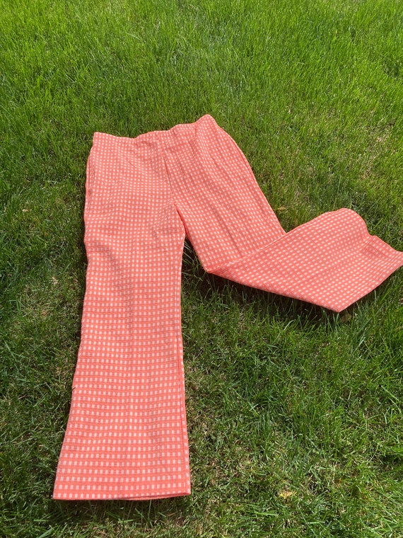 Vintage Knit Plaid Pants 1970s Coral Orange Widel… - image 1