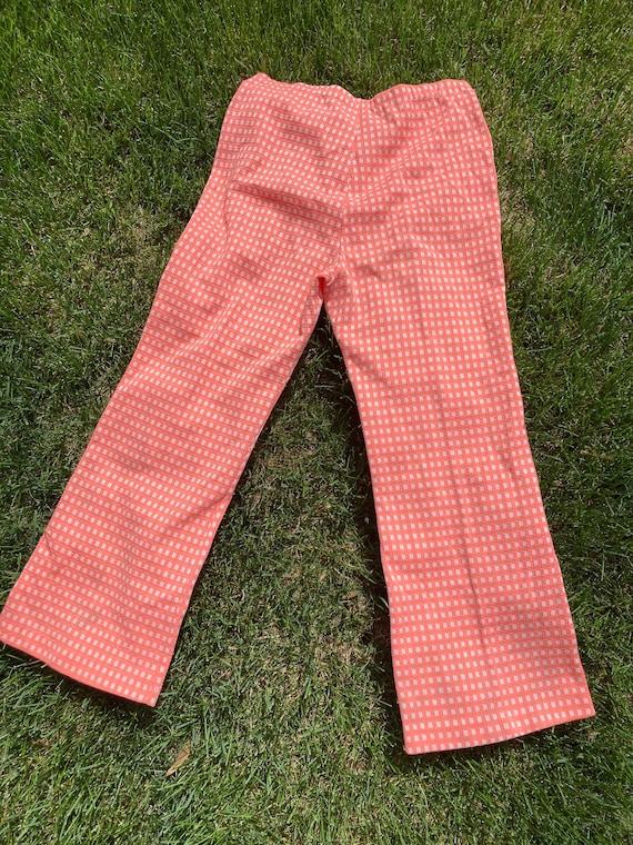 Vintage Knit Plaid Pants 1970s Coral Orange Widel… - image 3