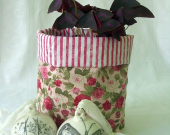 Reversible Plant Pot Cover or Storage Basket, Pink Floral/Stripe, Recycled (slight seconds)