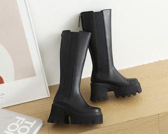 Womens Chunky Knee High Platform Boots