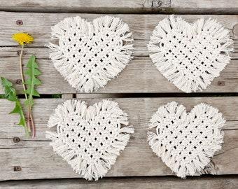 THE MINT Boho Macrame Set of 4 Heart Shaped Coasters with Fringe Women's Gift Housewarming Wedding Gift Bridal Shower