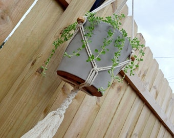 THE VERVAIN Boho Macrame Plant Hanger with Wooden Ring and Beads Fits ~4-8 inch Pot Women's Gift Housewarming Wedding Gift Bridal Shower