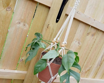 THE CATNIP Boho Macrame Plant Hanger with Wooden Ring and Beads Fits ~4-8 inch Pot Women's Gift Housewarming Wedding Gift Bridal Shower