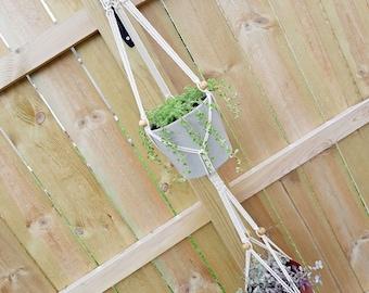 THE BASIL Boho Macrame Double Plant Hanger w/ Wooden Ring & Beads Fits (2) ~4-6inch Pot Women's Gift Housewarming Wedding Gift Bridal Shower