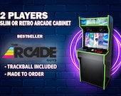 """32"""" 2 Players Custom SLIM or RETRO Arcade Cabinet with TRACKBALL Included Ready To Use - Made To Order"""