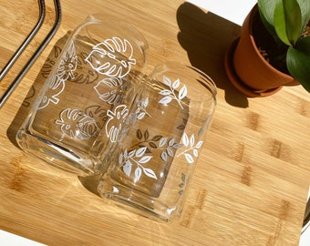 Monstera Leaf Beer Can Shaped Glass, Coffee Glass, Vine Beer Can Glass, Summer Glass
