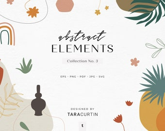 Abstract Elements Collection No. 3, Vases, Plants, Shapes, Line Art, Abstract Boho Shapes, Hand Drawn Shapes, Boho Shapes