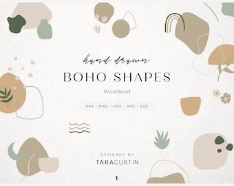 Woodland Abstract Boho Shapes, Hand Drawn Design Elements, Modern Bohemian Geometric Graphics, Minimalist Branding, Clipart Bundle