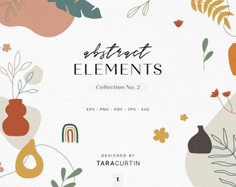 Abstract Elements Collection No. 2, Vases, Plants, Shapes, Line Art, Abstract Boho Shapes, Hand Drawn Shapes, Boho Shapes