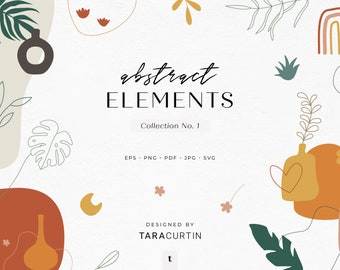 Abstract Elements Collection No. 1, Vases, Plants, Shapes, Line Art, Abstract Boho Shapes, Hand Drawn Shapes, Boho Shapes