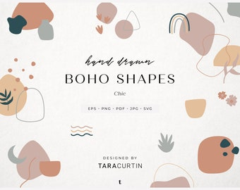 Chic Abstract Boho Shapes, Hand Drawn Design Elements, Modern Bohemian Geometric Graphics, Minimalist Branding, Clipart Bundle