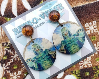Creature From the Black Lagoon Round Dangle Earrings
